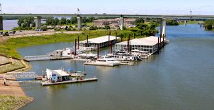 Aerial view of the Downtown Memphis Marina and boat slip. Royalty Free Stock Photography