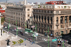 Aerial view of downtown Mexico City including several historic landmarks Stock Photography