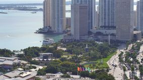 Aerial view Downtown Miami and Bayside 4k stock video footage