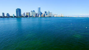Aerial view of Downtown Miami from Rickenbacker Causeway Stock Photography