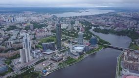 An aerial view of downtown Moscow looking over River Moscow. Top view of mid town in Moscow. Russian city skyline aerial stock video