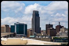 Aerial view of downtown Omaha Nebraska skyline. stock images