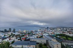 Aerial view of downtown Reykjavik with colorful houses royalty free stock photos