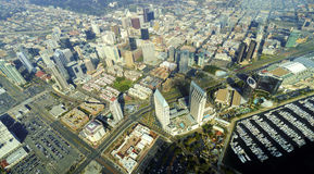 Aerial view of Downtown San Diego. Southern California, United States of America. A view of the skyline, waterfront skyscrapers, the Marina, tall towers and royalty free stock photo