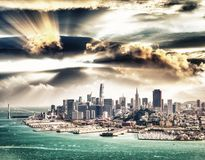Aerial view of Downtown San Francisco skyline from helicopter, C Royalty Free Stock Image
