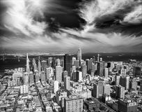 Aerial view of Downtown San Francisco skyline from helicopter, C Stock Photography