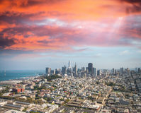 Aerial view of Downtown San Francisco skyline from helicopter, C Stock Photo