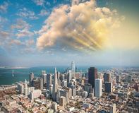 Aerial view of Downtown San Francisco skyline from helicopter, C Royalty Free Stock Photography