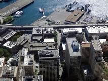 Aerial view of downtown Seattle buildings, Ferry Terminal, Port, Royalty Free Stock Image