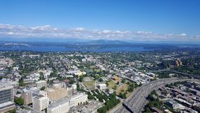 Aerial view of downtown Seattle buildings, Union Lake and I-5 Hi Stock Photography