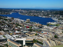 Aerial View of Downtown Seattle and Lake Union Royalty Free Stock Images