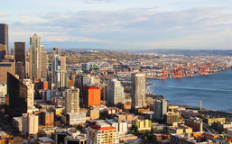 Aerial view of downtown Seattle royalty free stock photo