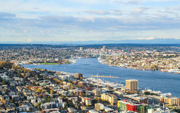 Aerial view of downtown Seattle royalty free stock images