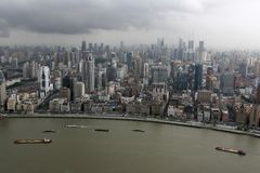 Aerial View of Downtown Shanghai Royalty Free Stock Photos