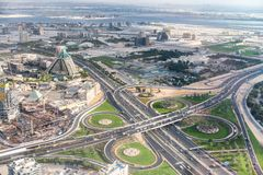 Aerial view of Downtown skylineand main road intersection from h Royalty Free Stock Photo