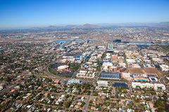 Aerial view of Downtown Tempe, Arizona skyline Royalty Free Stock Images