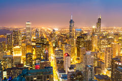 Aerial view of downtown towers at the night stock photos