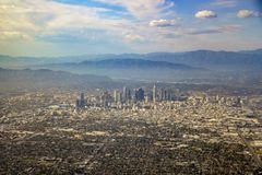 Aerial view of downtown, view from window seat in an airplane. California, U.S.A royalty free stock photography