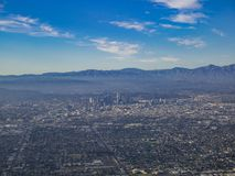 Aerial view of downtown, view from window seat in an airplane. California, U.S.A Royalty Free Stock Image