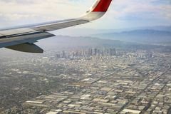 Aerial view of downtown, view from window seat in an airplane. California, U.S.A royalty free stock photos