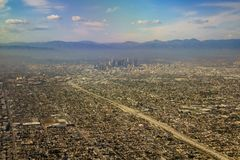 Aerial view of downtown, view from window seat in an airplane. California, U.S.A stock image