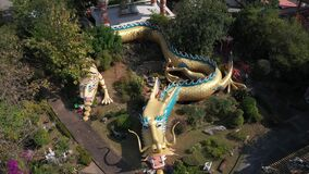 Aerial view Dragon Tunnels Sculpture at Chinese Temple in Chiangmai, Thailand.