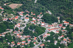 Aerial view of Drakeia village, Pelion, Greece Royalty Free Stock Photography