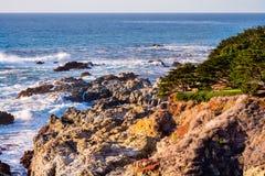 Dramatic Pacific Ocean coastline, California. Aerial view of the dramatic Pacific Ocean coastline, California royalty free stock images