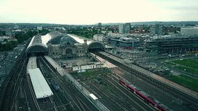 Aerial view of Dresden Hauptbahnhof or city central railway station, Germany. Aerial view of Dresden Hauptbahnhof or city central railway station Royalty Free Stock Photo