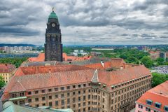 Aerial view of Dresden skyline on a cloudy day, Germany.  Royalty Free Stock Photo