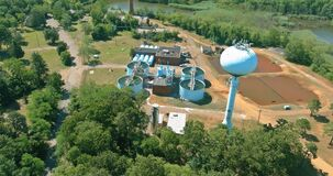 Aerial view of drinking water treatment plants for big city from water management