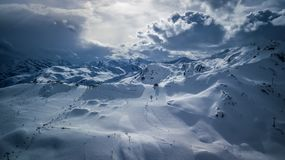 Aerial view from drone on Austrian Alps. stock photos