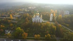 Aerial view from Drone: Beautiful view of the church in the sun. stock footage