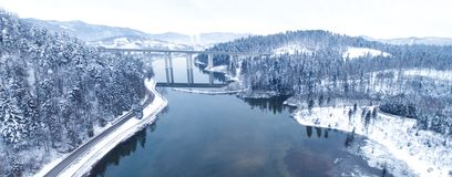 Aerial view from drone of a beautiful lake in the mountain during winter time stock photos