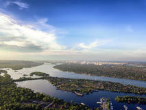 Aerial view from drone of big city.  Royalty Free Stock Images