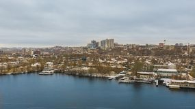 Winter aerial view on cityscape of Dnipro city. royalty free stock image
