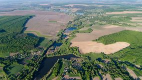 Aerial View Drone Countryside Landscape Amazing Natural Greenery Blue Lakes stock photo