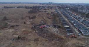Aerial view of red fire truck with led light. Burning dump. stock video