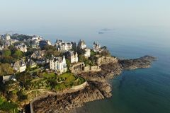 Aerial view by drone, Dinard, France. Dinard is a french town in Brittany France, a seaside resort since 1850 with its luxurious villas Royalty Free Stock Photography