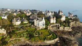 Aerial view by drone, Dinard, France. Dinard is a french town in Brittany France, a seaside resort since 1850 with its luxurious villas Stock Photos