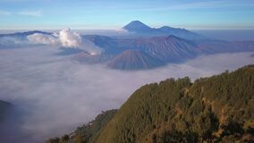 Aerial view drone flying at Bromo volcano, East Java, Indonesia