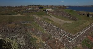Aerial view drone footage of Suomenlinna Sveaborg bastion fortress near Helsinki, Finland Suomi, northern Europe stock footage