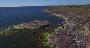 Aerial view drone footage of Suomenlinna Sveaborg bastion fortress near Helsinki, Finland Suomi, northern Europe stock video footage