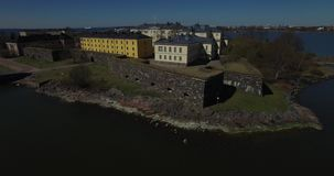 Aerial view drone footage of Suomenlinna Sveaborg bastion fortress near Helsinki, Finland Suomi, northern Europe stock video