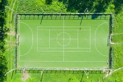 Aerial view from drone of football field.