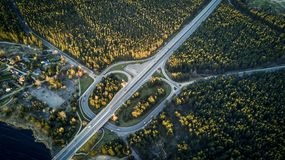 Aerial view from drone on the highway among green forest. Aerial view from drone on the highway among green forest and beautiful soft sunlight on the trees Stock Photo