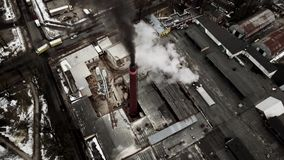Aerial view from drone on the industrial factory. stock video footage