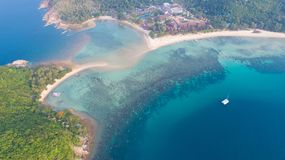 Aerial view from the drone on the island Koh Ma,path from koh Phangan royalty free stock image