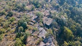 Aerial view from drone Lan Hin Poom at Phu Hin Rong Kla. National Park, The famous national park in Phitsanulok, Thailand Royalty Free Stock Photos