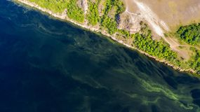 Aerial view from the drone of landscape Volga river flows among the hills and fields. The middle band of Russia stock images